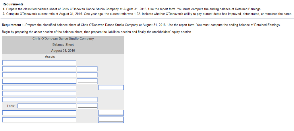 Prepare The Classified Balance Sheet Of Chris ODonovan Dance Studio Company  At Au.