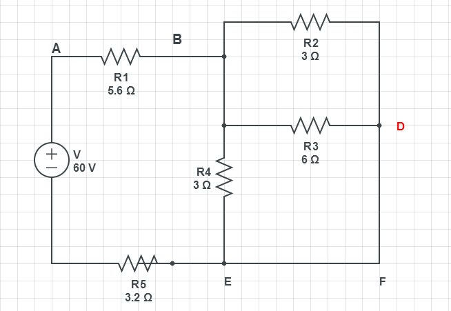 solved  in the circuit shown find the potential difference