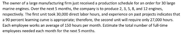 Question: The owner of a large manufacturing firm just received a production schedule for an order for 30 l...