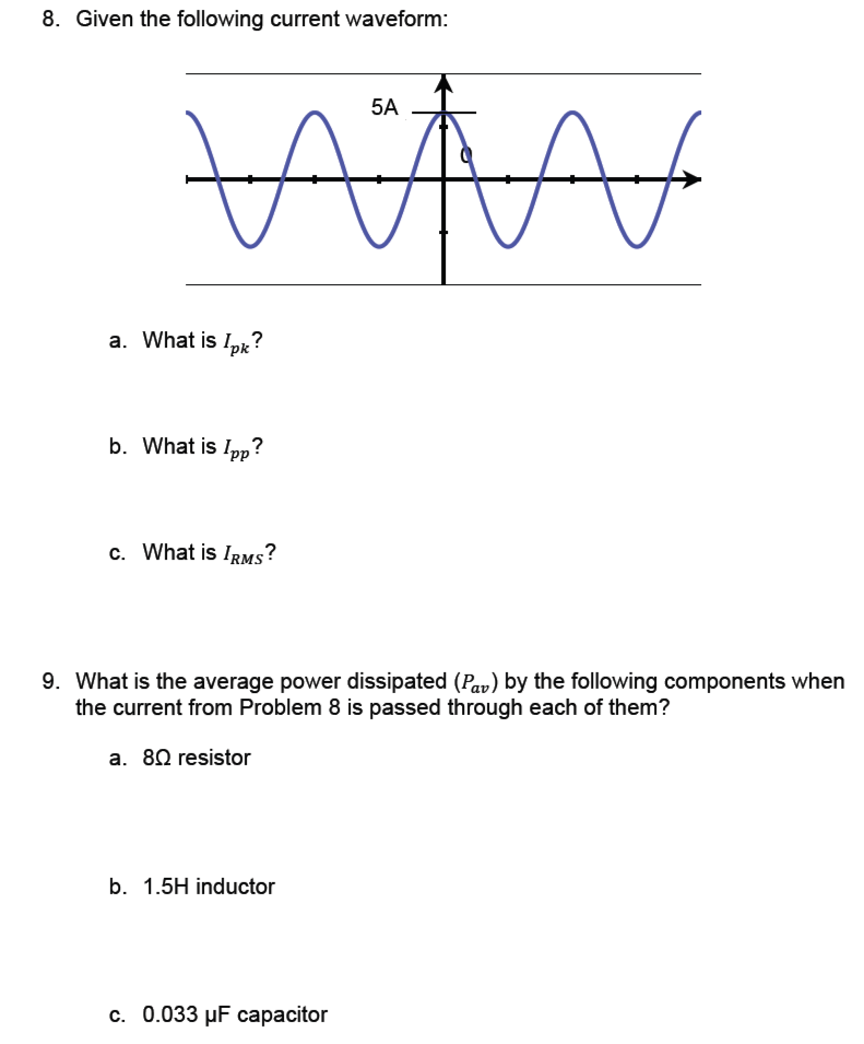 Given the following current waveform: What is Ipk