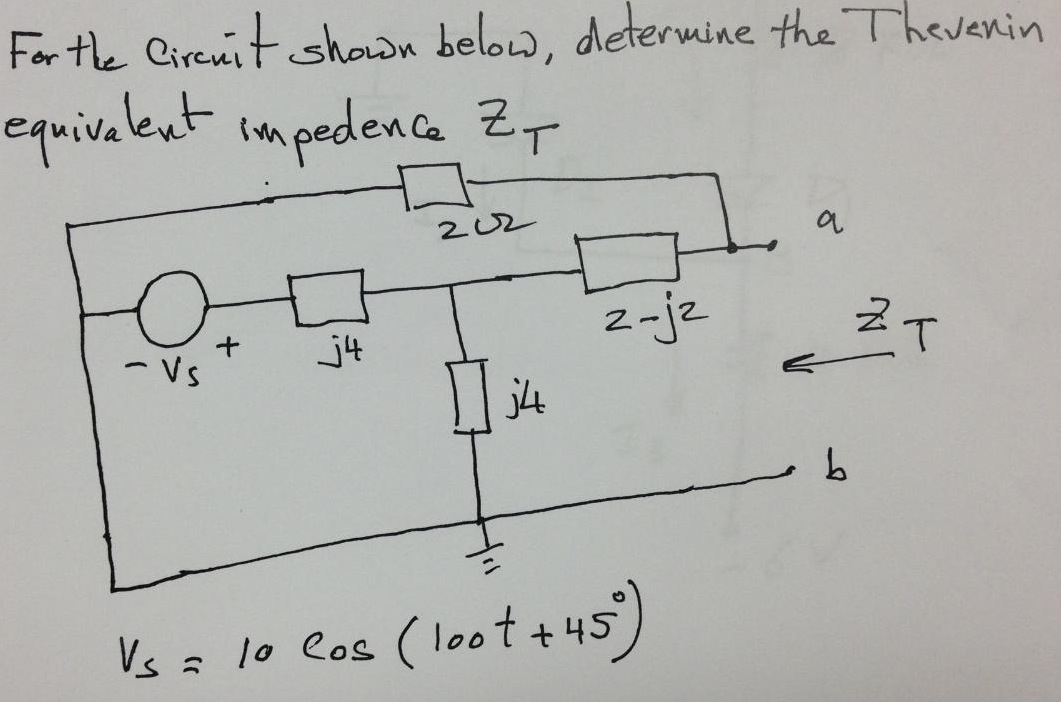 For the circuit shown below, determine the Theveni