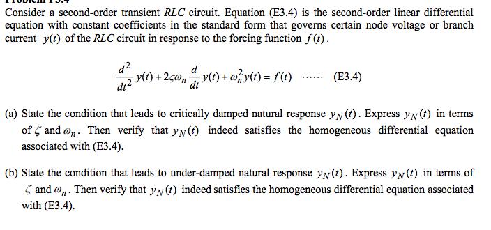 Consider A Second-order Transient RLC Circuit. Equ... | Chegg.com