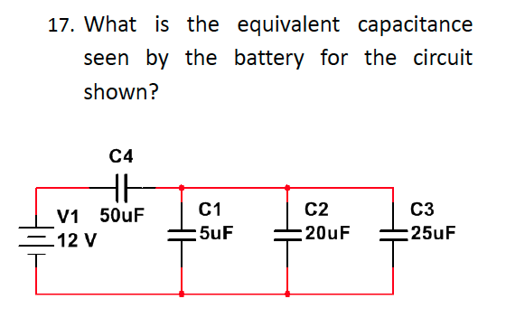 What is the equivalent capacitance seen by the bat