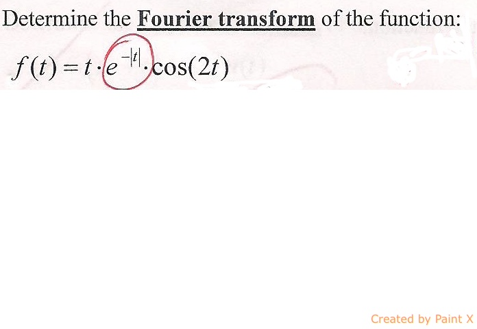 Determine the Fourier transform of the function: