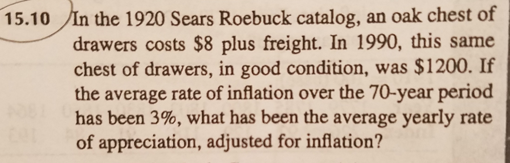 Question: In the 1920 Sears Roebuck catalog, an oak chest of drawers costs $8 plus freight. In 1990, this s...