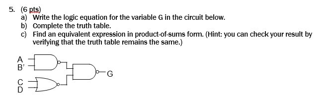 Write the logic equation for the variable G in the