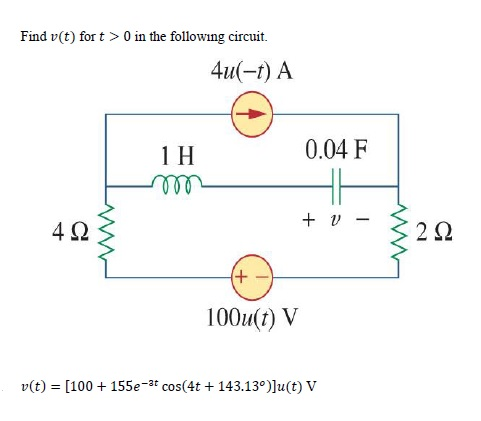 Find v(t) for t > 0 in the following circuit. v(t