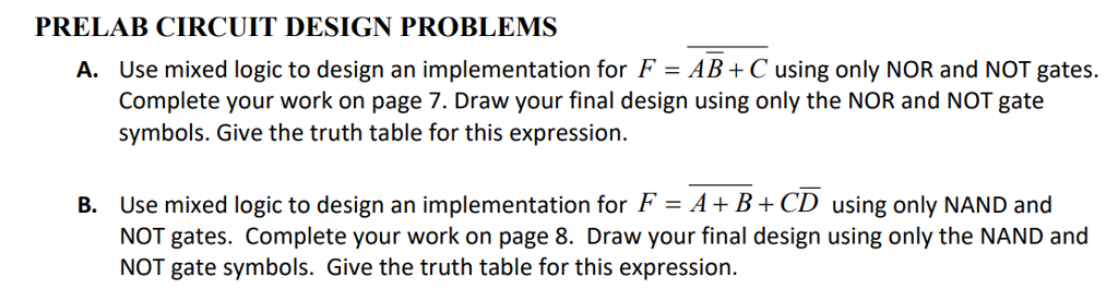 Solved A Use Mixed Logic To Design An Implementation For