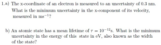 The x-coordinate of an electron is measured to an