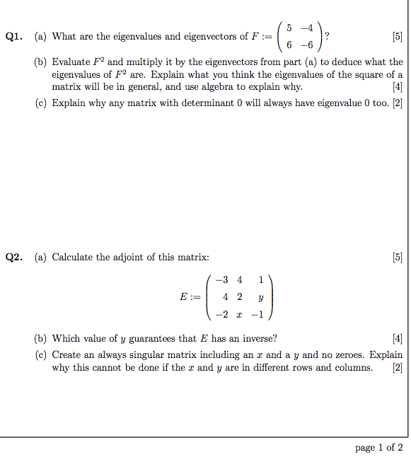 What are the eigenvalues and eigenvectors of F :=