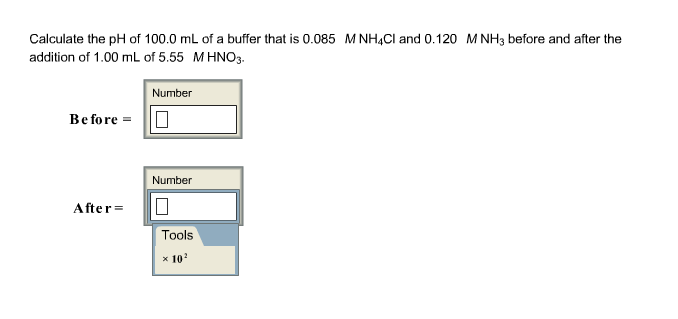 Calculate the pH of 100.0 mL of a buffer that is 0