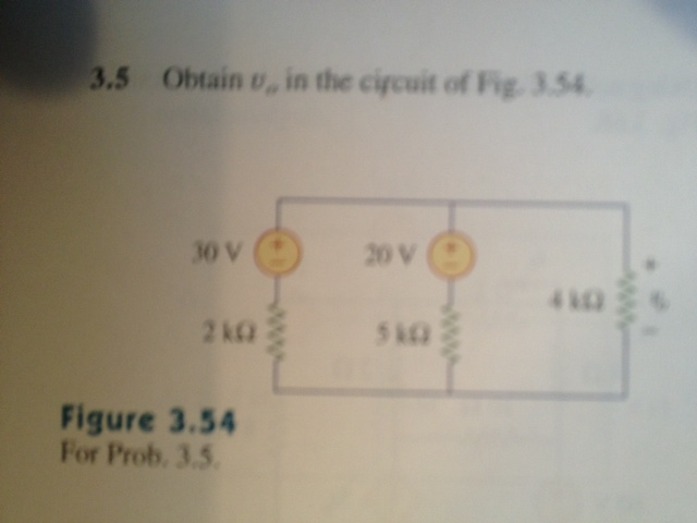 Obtain v0 in the circuit of Fig. 3.54