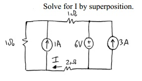 Solve for I by superposition.