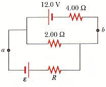 For the circuit shown in the figure (? = 8.00 V, R
