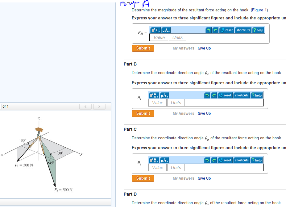Determine the magnitude of the resultant force act