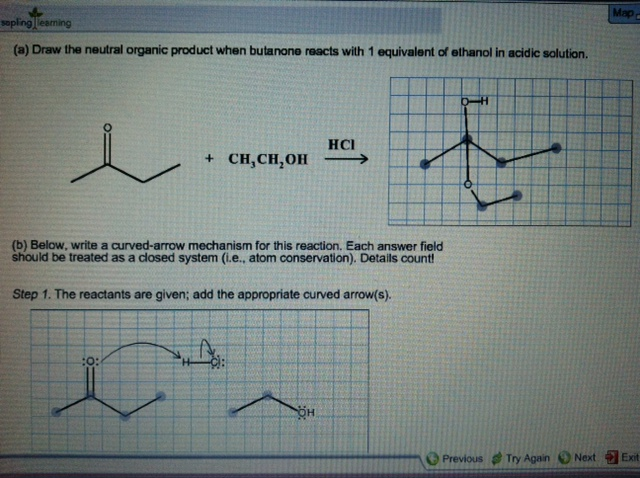 (a) draw the neutral organic product when butanone