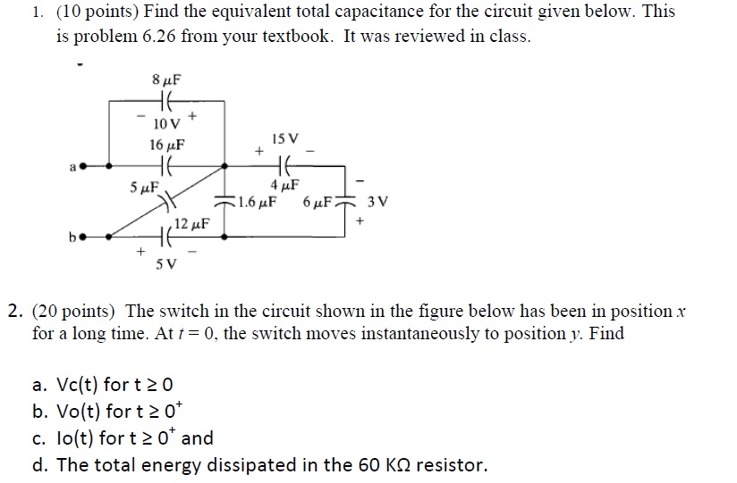 Find the equivalent total capacitance for the circ