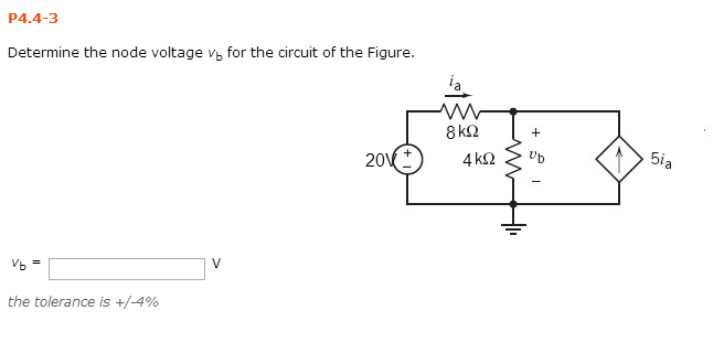 Determine the node voltage vb for the circuit of t