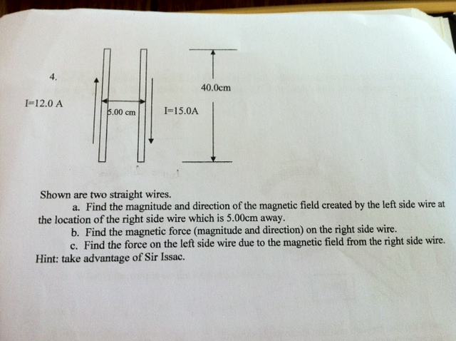 Shown above are two straight wires. What is the m