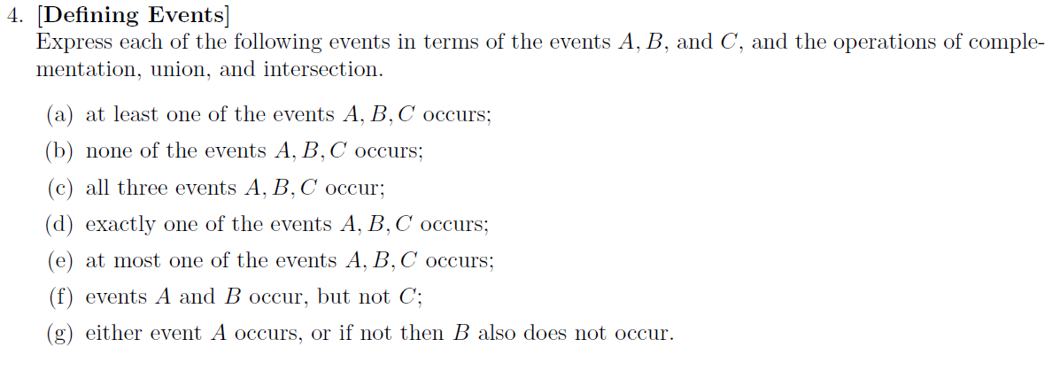 [Defining Events] Express each of the following e