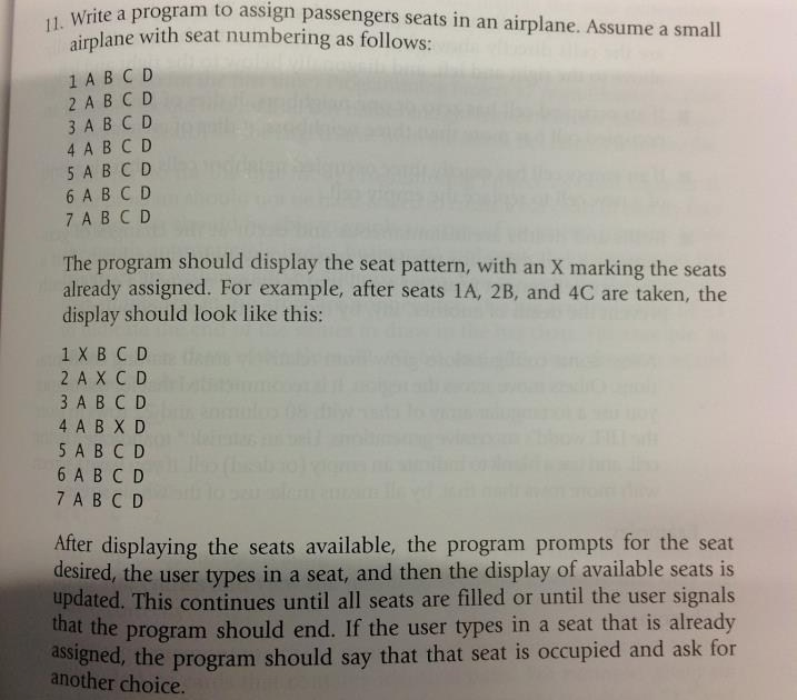 Write a program to assign passengers seats in an a