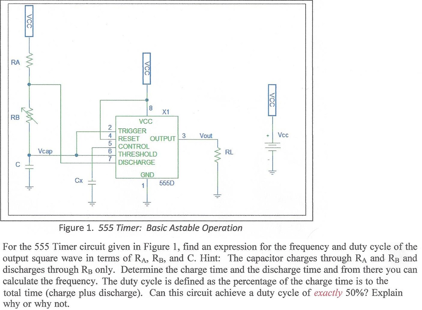 All About 555 Timer Frequency And Duty Cycle Calculator Www In Monostable Mode Circuit Diagram Electronicshuborg Solved I Dont Understand How To Find The Equation Please