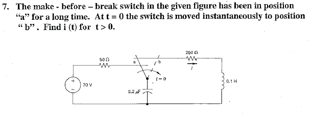The make - before - break switch in the given figu