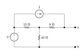 Image for Find the Norton equivalent with respect to the terminals a,b for the circuit if v = 72V , i = 4.6A. a)Find the