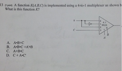 A function K(A,B,C) is implemented using a 4-to-1