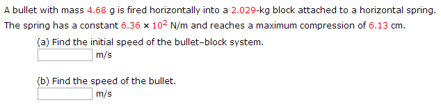 A bullet with mass 4.68 g is fired horizontally in