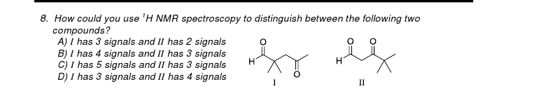 How could you use 1H NMR spectroscopy to distingui