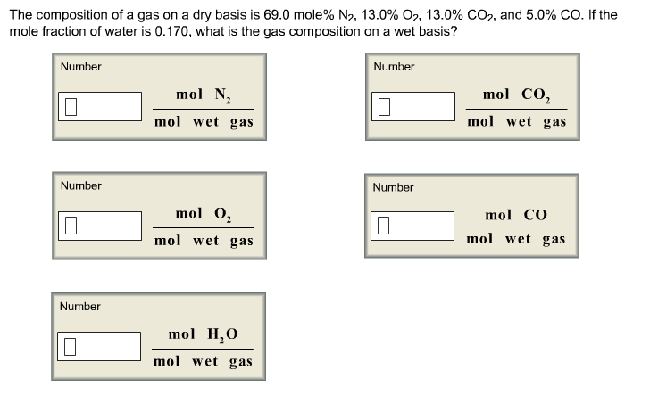 The composition of a gas on a dry basis is 69.0 mo