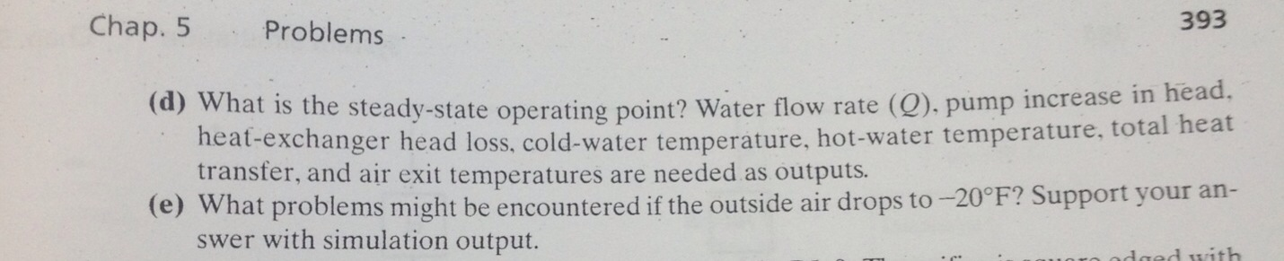 What is the steady-state operating point? Water fl