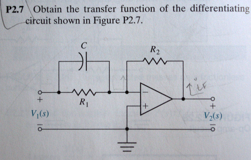 Obtain the transfer function of the differentiatin