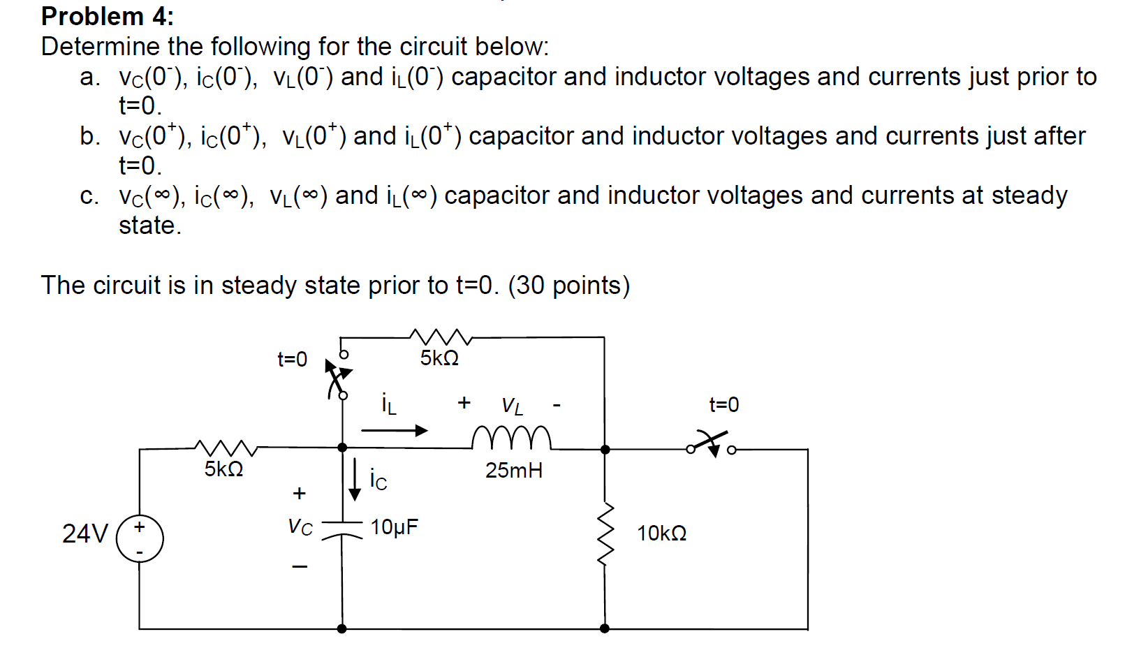 Determine the following for the circuit below: vc