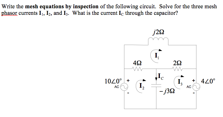 Write the mesh equations by inspection of the foll