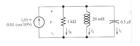 Determine currents iR, iL, and iC via KCL. No nee