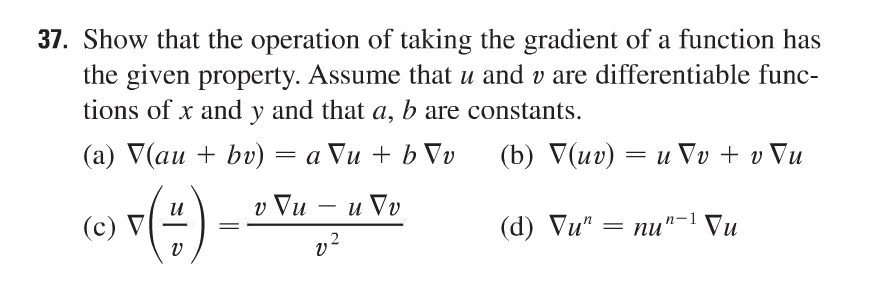 Show that the operation of taking the gradient of