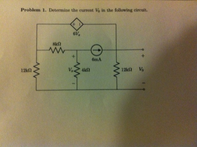Determine the current V0 In the following circuit.