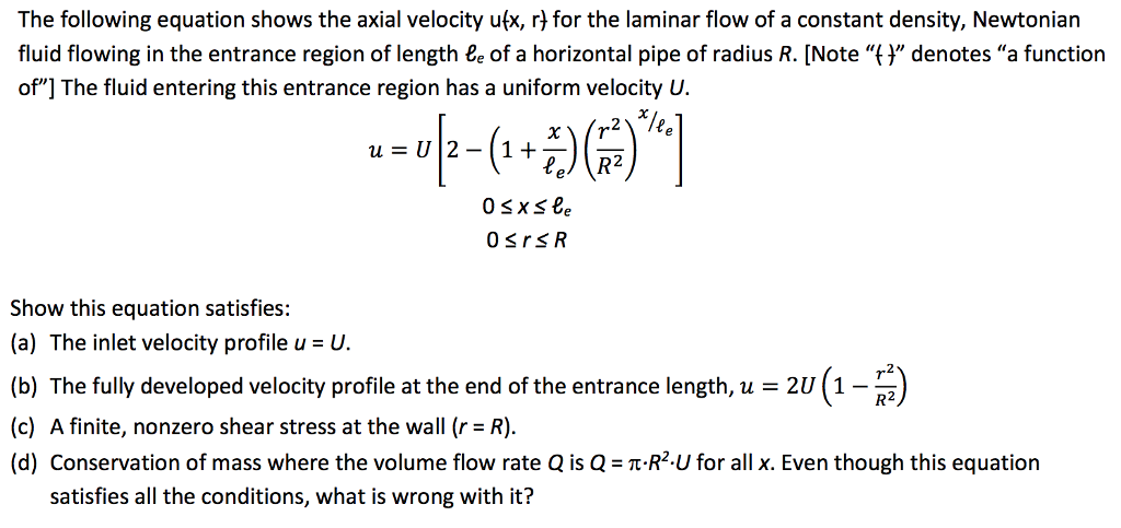 Solved The Following Equation Shows The Axial Velocity U( Chegg com
