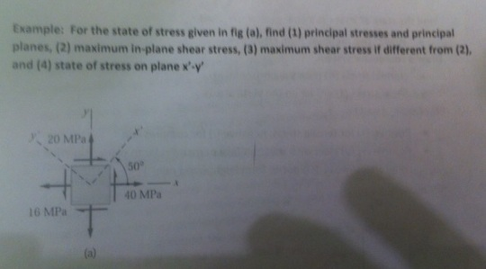 For the state of stress given in fig (a), find (1)