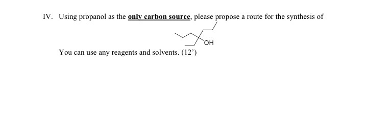 Using propanol as the only carbon source, please p