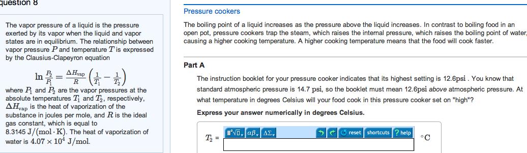 vapor pressure and heat of vaporization relationship test