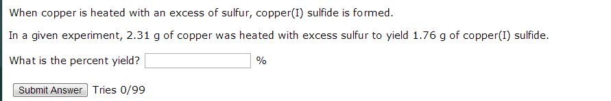 When copper is heated with an excess of sulfur, co