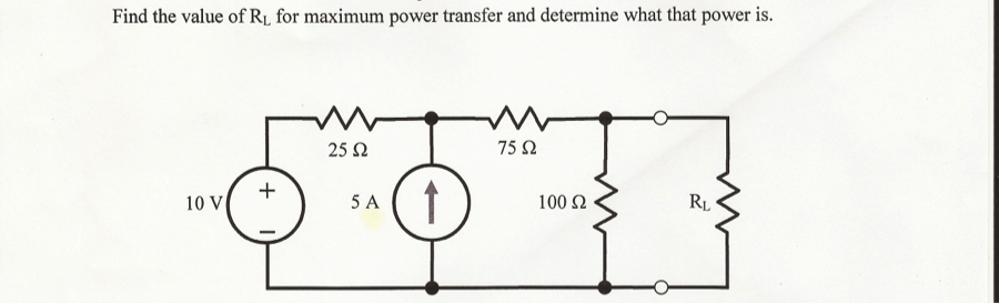 Find the value of Rl for maximum power transfer an