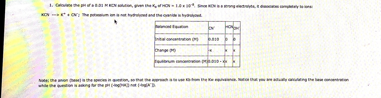 Calculate the pH of a 0.01 M KCN solution, given t