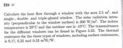 Calculate the heat flow through a window' with the