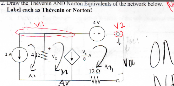 Draw the Thevenin AND Norton Equivalents of the ne