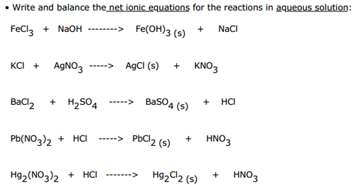 writing net ionic equations practice Solubility and net ionic equations the key to being able to write net ionic equations is the ability to recognize monoatomic and polyatomic ions.