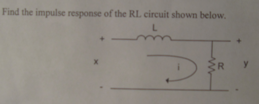 Find the impulse response of the RL circuit shown